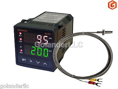 Dual Display Digital PID F/C Temperature Controller with K Thermocouple
