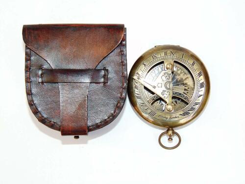 Brass Nautical Antique Handmade Push Button Sundial Compass Christmas Day Gift