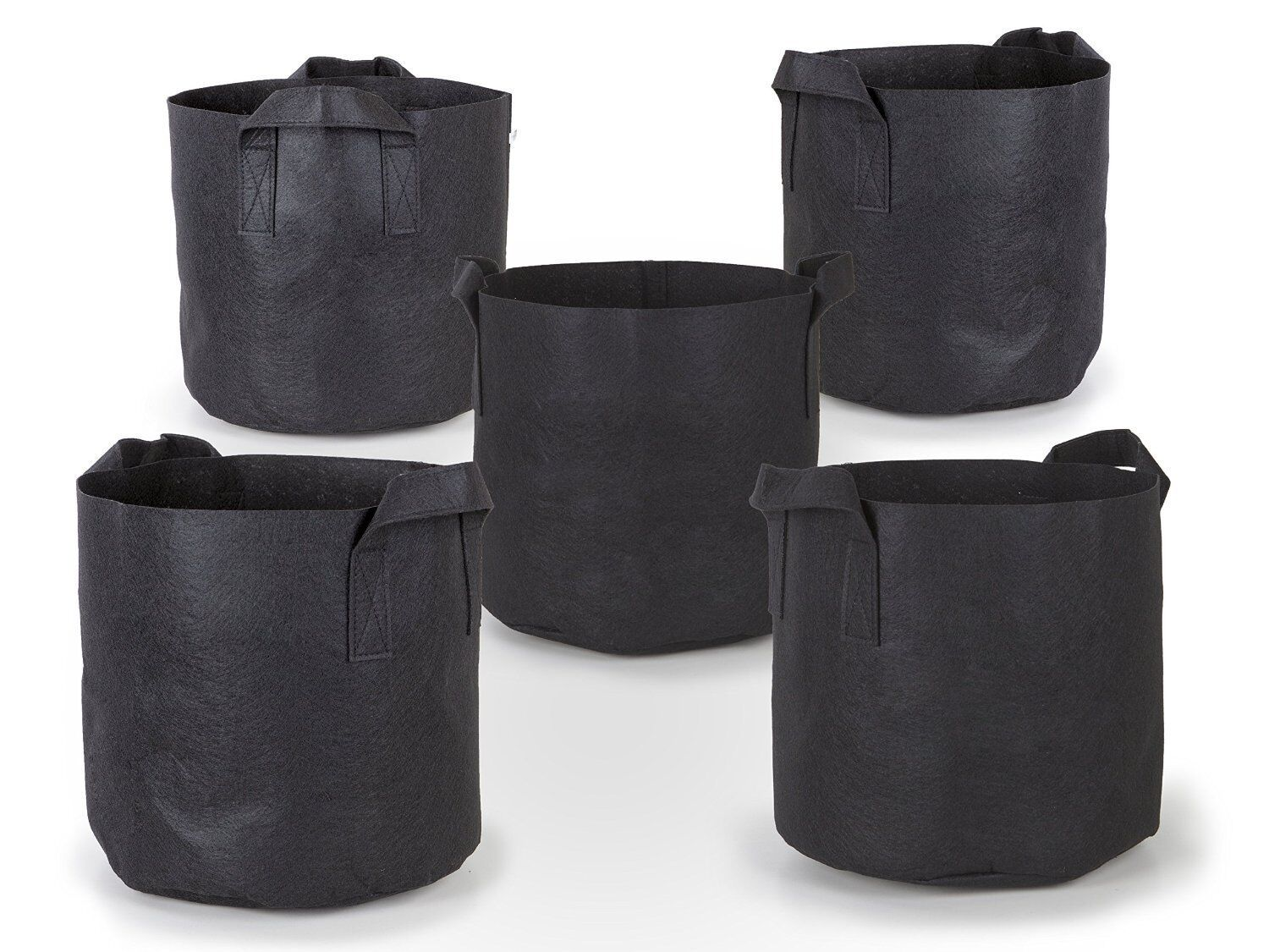 5Pcs/Pack Black Fabric Grow Pots Breathable Plant Bags Smart