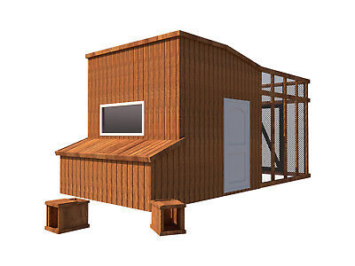 Chicken Coop Plans Diy Poultry Hen House With Run Kennel 8x10 Build Your Own