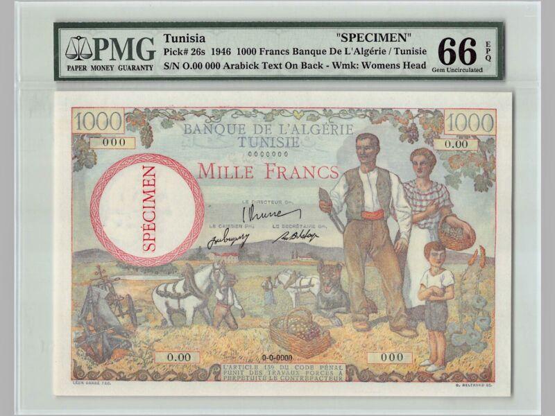 Tunisia 1000 Francs SPECIMEN 1946 P-26s PMG 66 EPQ Gem UNC