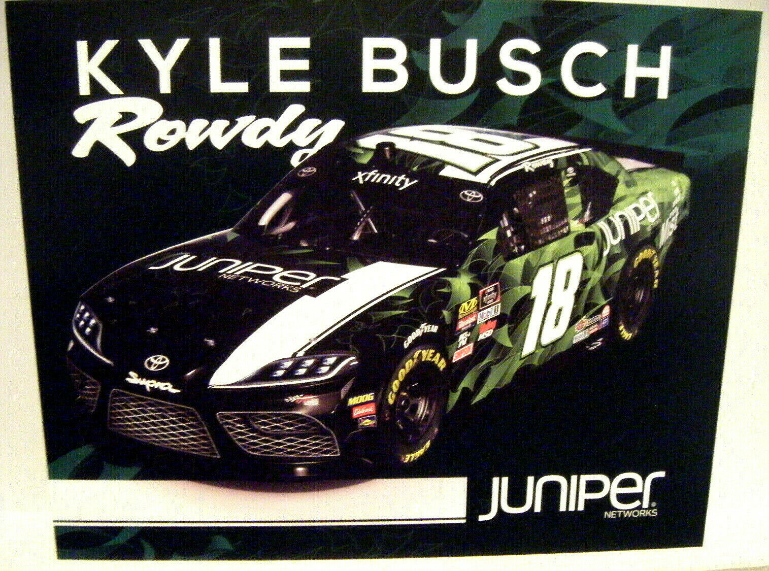 2019 KYLE ROWDY BUSCH JUPITER 18 JGR XFINITY NASCAR SERIES RACING POSTCARD - $1.75
