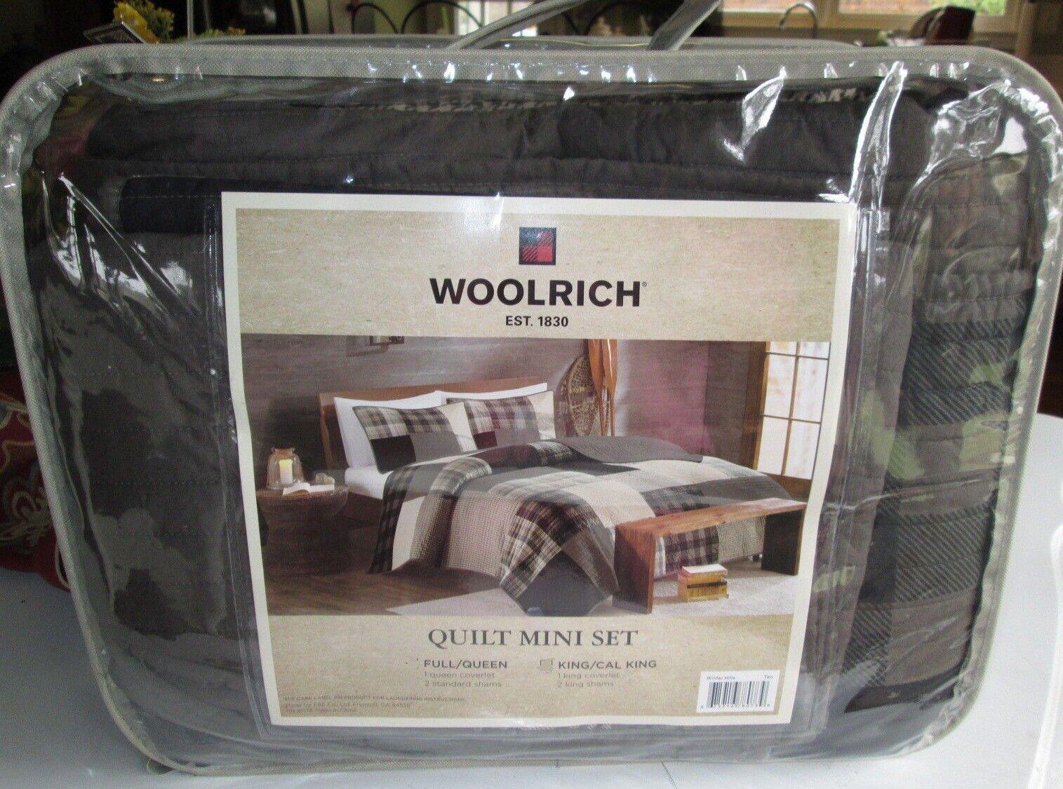 WOOLRICH Quilt Set KING SIZE 3PCS MEN'S PLAID black brown ch