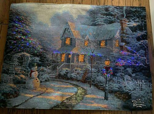 "Thomas Kinkade Large 36""x26"" Light Up Christmas Winter scene Hanging Tapestry"