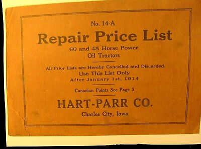 1914 Hart-parr No.24-a Repair Price List F 60 45 H.p. Oil Tractors 124 Pgs