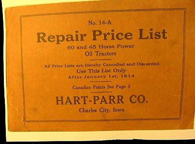 1914 Hart-parr No.24-a Repair Price List F 60 45 H.p. Oil Tractors 124 Pgs