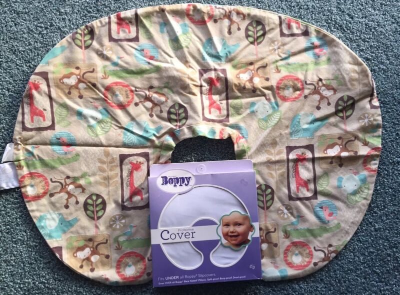 Boppy Slipcover JUNGLE PATCH .. +Plus ..BRAND NEW Protective Cover ..  COMBO