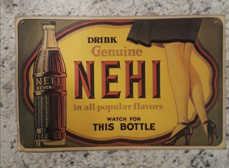 Old Cardboard Legs Nehi Soda Bottle Advertisement Sign