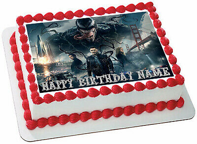 EDIBLE Venom Cake Topper Birthday Wafer Paper 1/4 Sheet decoration (8x10.5