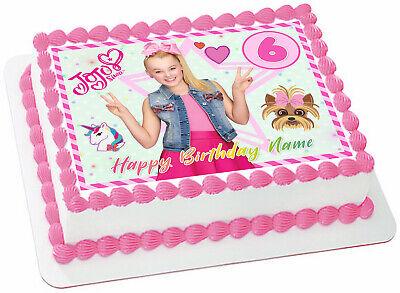 Edible Birthday Cake Decorations (Jojo Siwa Edible Wafer Paper Sheet Cake Topper Birthday Party Decoration)