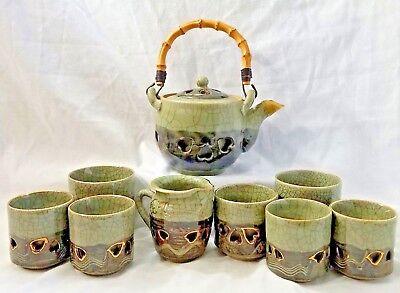 Somayaki Japanese Tea Set Soma Ware Double Wall Teapot Cups Creamer Gold Horse