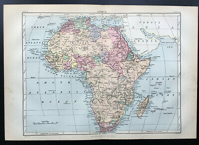 Antique Map Of Africa Madagascar Tunisia Egypt  1880