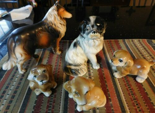 5 Ceramic Dog Collection Figurine, Collie, 3 Puppies, Japanese Chin