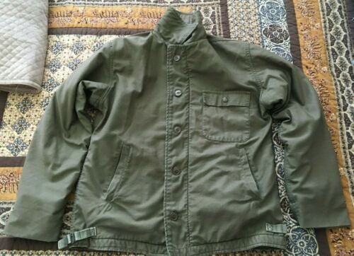 Vintage US Navy OD Green Cold Weather Permeable A2 Lined Deck Jacket - Size Med