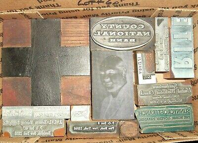 No.60 Lot Of 13 Vintage Cuts Printing Block Letterpress Lead Copper Zinc Antique
