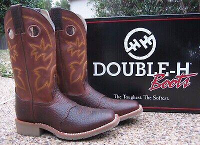 NEW Men's Double-H Mustang Rust Brown Leather Square Toe Work Boots DH5417