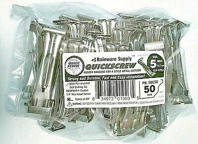 """Quick Screw 5"""" 50 Pack Premium Hidden Rain Gutter Bracket Hook Hangers with clip"""