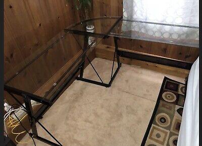 L-shaped Glass Computer Desk
