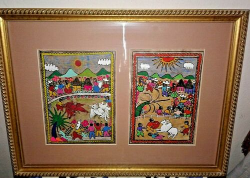 Vintage Set of 2 Framed Mexican Amates/Bark Paintings