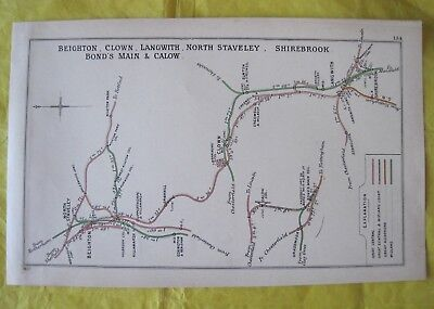 1907 RAILWAY CLEARING HOUSE Junc Diagram No.134 BEIGHTON,LANGWITH,SHIREBROOK