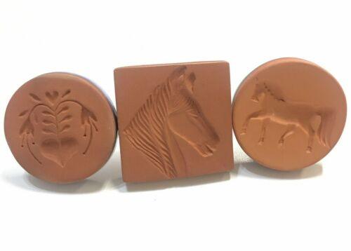 Rycraft Cookie Butter 3 Stamp Lot Mold Terracotta Scandinavian Horse Head Heart