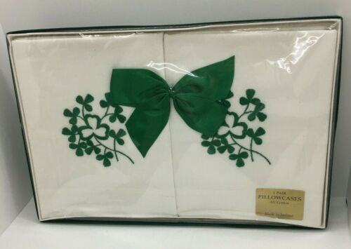 Pillowcases 1 Pair ALL COTTON Made in IRELAND White w/ Embroidered Shamrocks NIB
