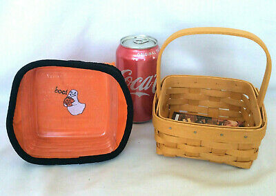 Longaberger Halloween Basket with Ghost Boo Liner Protector New FREE SHIP