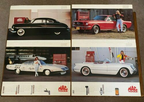1993 MAC Tools Calendar Poster Mustang Corvette Mercury Plymouth Super Bee Set 4