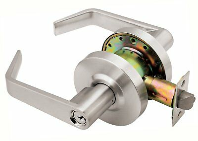 Grade 2 Commercial Duty Office Entry Keyed Lever Lockset, ADA, Satin Chrome
