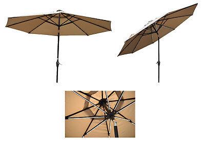 mandalika sonnenschirm 3m mit led beleuchtung licht leisten knickbar 300cm taupe ebay. Black Bedroom Furniture Sets. Home Design Ideas