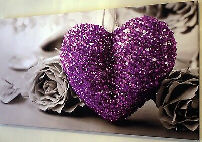 """PURPLE HEART ON BLACK AND WHITE CANVAS WALL ART PICTURE LARGE 18"""" X 32"""" INCH"""