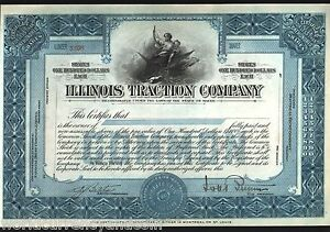 ILLINOIS-TRACTION-COMPANY-1910s-RAIL-ROADS-UNUSED-MINT-STOCK-SHARE-CERTIFICATE