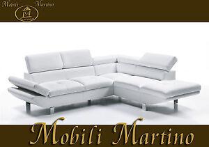 Divano angolare moderno in ecopelle bianco angolo salotto soggiorno relax sof ebay - Divano angolare bianco ...