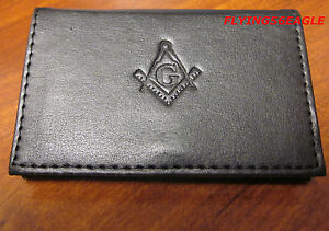 Masonic business card or dues card holder soft black for Masonic business card holder
