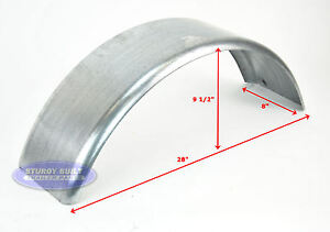 2-Galvanized-Boat-Trailer-Fenders-16-Gauge-Steel-Single-Axle-8-x28-x10