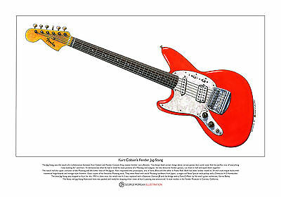 Kurt Cobain's Fender Jag-Stang Limited Edition Fine Art Print A3 size, usado segunda mano  Embacar hacia Spain