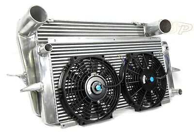 Universal Alloy Intercooler + Radiator & Fans Turbo Kit Project Track Rally Car