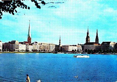 Hamburg , Binnenalster , Ansichtskarte ,  gelaufen