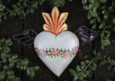 Pale Green Sacred Heart wood & Tin Wings Folk Art Michoacán Mexico Love Token!