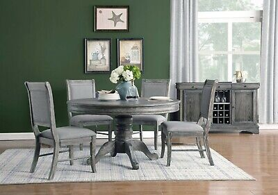 "5 PC 54"" ROUND WEATHERED ASH GREY DINING TABLE CHAIRS DINING ROOM FURNITURE SET"