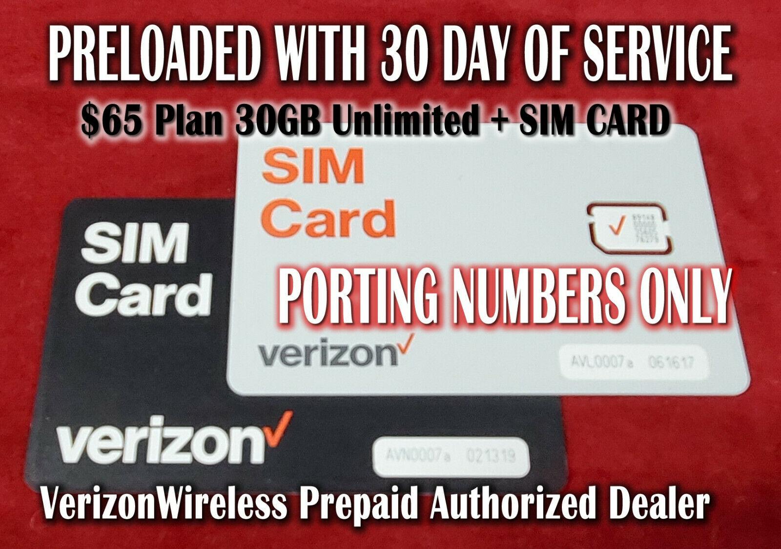 Verizon Wireless UNLIMITED Sim Card LTE 4G 5G + 1 month FREE