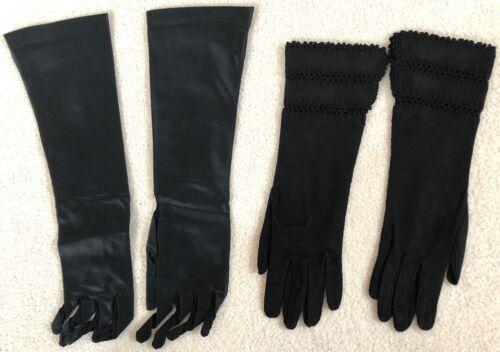 2 Pair Vintage Long Black Sz 6-1/2 Leather Suede Silk Gloves Viola Weinberger