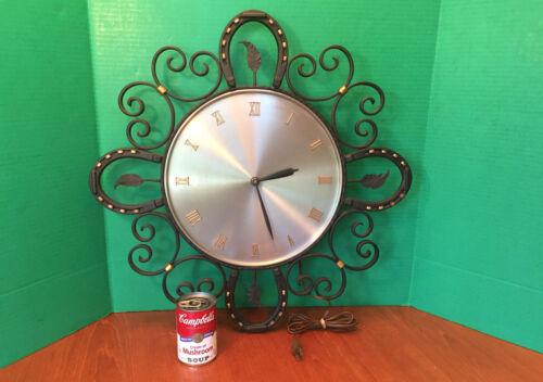 LRG Handmade Wrought Iron Horseshoe Wall Clock Electric Horse Ranch Western 22IN