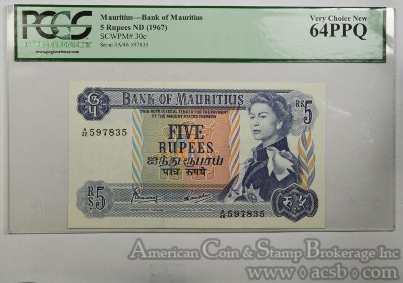 Mauritius 5 Rupees MS64 PPQ PCGS 1967 SCWPM#30c Bank Mauritius Elizabeth II