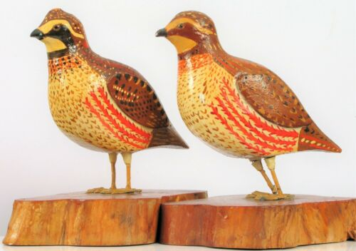 VINTAGE JOHN NELSON HAND CARVED WOODEN QUAIL BIRD CARVINGS MALE FEMALE PAIR !