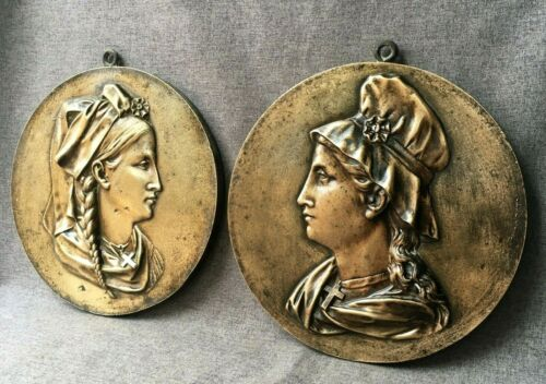 Antique pair of french black forest bronze low relief portraits 19th century 5lb