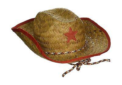 Childs Straw Cowboy Hat With Plastic Star (6 Pack) - BULK Free Shipping (Children's Cowboy Hats Bulk)