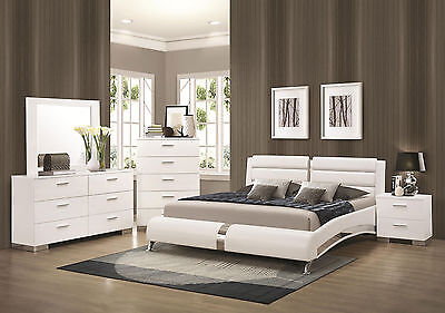 STANTON-Ultra Modern 5pcs Glossy White Queen Size Platform Bedroom Set Furniture