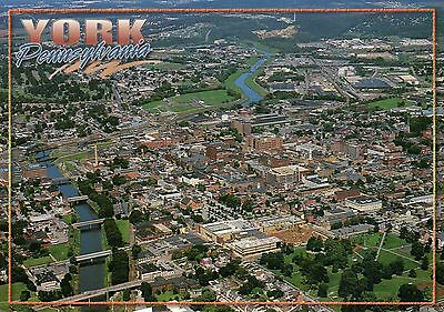 Aerial View Of York  Pennsylvania  Downtown  Codorus Creek  History     Postcard