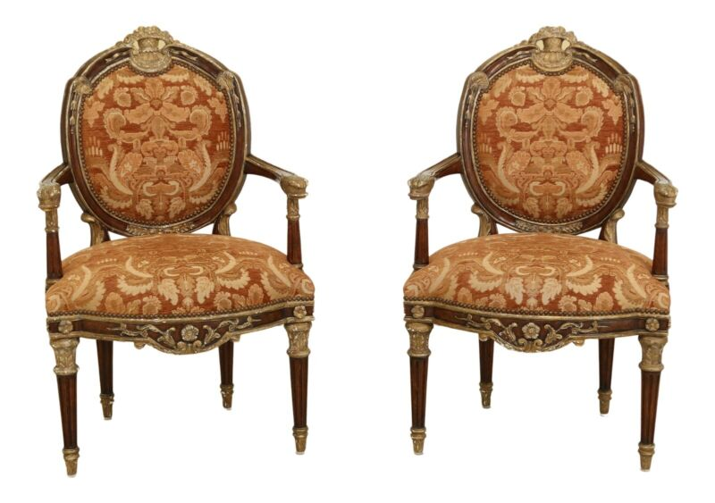 31864EC: Pair French Louis XV Style Open Arm Chairs